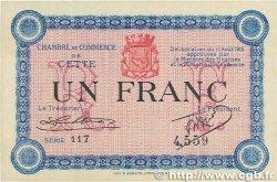 1 Franc FRANCE régionalisme et divers CETTE ACTUELLEMENT SÈTE 1915 JP.041.05 SUP+
