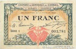 1 Franc FRANCE régionalisme et divers Corbeil 1920 JP.050.03 pr.TTB