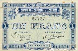 1 Franc FRANCE régionalisme et divers Corrèze 1915 JP.051.03 SUP+