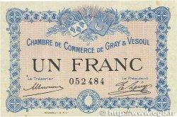 1 Franc FRANCE régionalisme et divers Gray et Vesoul 1915 JP.062.03 SUP