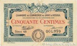 50 Centimes FRANCE régionalisme et divers GRAY et VESOUL 1919 JP.062.11 TTB+