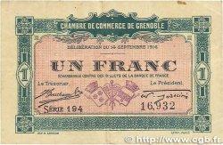 1 Franc FRANCE régionalisme et divers GRENOBLE 1916 JP.063.06 TTB