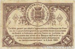 1 Franc FRANCE régionalisme et divers GUÉRET 1915 JP.064.03 pr.TTB