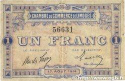 1 Franc FRANCE régionalisme et divers Limoges 1914 JP.073.03 TB