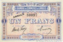 1 Franc FRANCE régionalisme et divers LIMOGES 1914 JP.073.04 pr.SPL