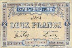 2 Francs FRANCE régionalisme et divers Limoges 1914 JP.073.05 pr.TTB