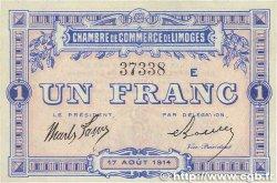 1 Franc FRANCE régionalisme et divers Limoges 1914 JP.073.10 SUP