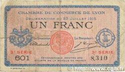 1 Franc FRANCE régionalisme et divers LYON 1916 JP.077.10 TB