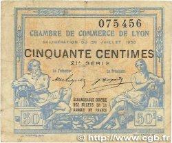 50 Centimes FRANCE régionalisme et divers LYON 1920 JP.077.22 TB