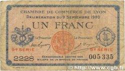 1 Franc FRANCE régionalisme et divers LYON 1920 JP.077.23 B