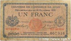 1 Franc FRANCE régionalisme et divers LYON 1921 JP.077.25 B
