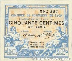 50 Centimes FRANCE régionalisme et divers LYON 1922 JP.077.26 TTB+