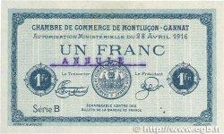 1 Franc FRANCE régionalisme et divers MONTLUÇON-GANNAT 1916 JP.084.24 TTB