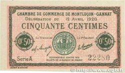 50 Centimes FRANCE régionalisme et divers MONTLUÇON-GANNAT 1920 JP.084.50 SUP