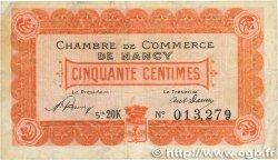 50 Centimes FRANCE régionalisme et divers Nancy 1920 JP.087.38 TB