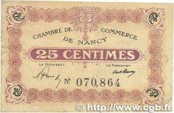 25 Centimes FRANCE régionalisme et divers NANCY 1918 JP.087.58 TB