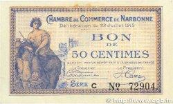 50 Centimes FRANCE régionalisme et divers Narbonne 1915 JP.089.01 SUP