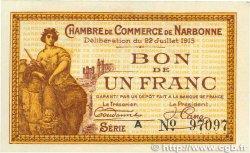 1 Franc FRANCE régionalisme et divers NARBONNE 1915 JP.089.02 SPL