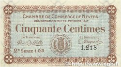 50 Centimes FRANCE régionalisme et divers Nevers 1917 JP.090.12 SUP