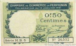 50 Centimes FRANCE régionalisme et divers PERPIGNAN 1921 JP.100.31 TB