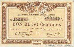 50 Centimes FRANCE régionalisme et divers Quimper et Brest 1915 JP.104.01 SUP