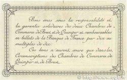 50 Centimes FRANCE régionalisme et divers QUIMPER et BREST 1915 JP.104.01var. SUP