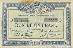 1 Franc FRANCE régionalisme et divers QUIMPER et BREST 1915 JP.104.05 TTB