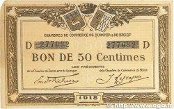 50 Centimes FRANCE régionalisme et divers Quimper et Brest 1918 JP.104.10 pr.TTB