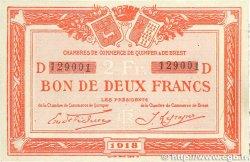 2 Francs FRANCE régionalisme et divers QUIMPER et BREST 1918 JP.104.12 TTB+