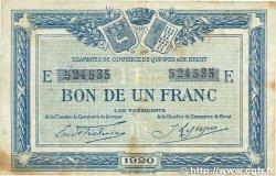 1 Franc FRANCE régionalisme et divers QUIMPER et BREST 1920 JP.104.17 TB