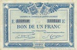 1 Franc FRANCE régionalisme et divers Quimper et Brest 1920 JP.104.17 TTB