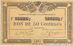 50 Centimes FRANCE régionalisme et divers Quimper et Brest 1921 JP.104.19 TTB