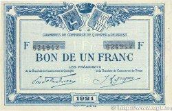 1 Franc FRANCE régionalisme et divers QUIMPER et BREST 1921 JP.104.20 TTB+