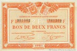 2 Francs FRANCE régionalisme et divers Quimper et Brest 1921 JP.104.21 TTB+