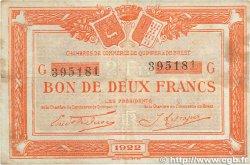 2 Francs FRANCE régionalisme et divers QUIMPER et BREST 1922 JP.104.24 TB