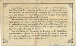 1 Franc FRANCE régionalisme et divers Rennes et Saint-Malo 1915 JP.105.03 TB
