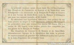 1 Franc FRANCE régionalisme et divers Rennes et Saint-Malo 1915 JP.105.03 TTB