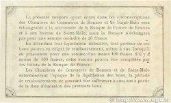 1 Franc FRANCE régionalisme et divers RENNES et SAINT-MALO 1915 JP.105.05 TTB+
