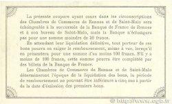 50 Centimes FRANCE régionalisme et divers RENNES et SAINT-MALO 1915 JP.105.06 SUP