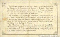 1 Franc FRANCE régionalisme et divers Rennes et Saint-Malo 1915 JP.105.07 TB