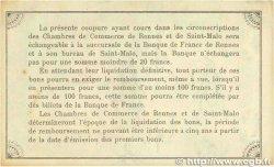 1 Franc FRANCE régionalisme et divers RENNES et SAINT-MALO 1915 JP.105.09 TTB+