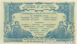 50 Centimes FRANCE régionalisme et divers Valence 1915 JP.127.06 SUP