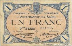1 Franc FRANCE régionalisme et divers VILLEFRANCHE-SUR-SAÔNE 1920 JP.129.13 B+