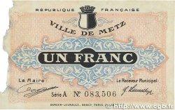 1 Franc FRANCE régionalisme et divers METZ 1918 JP.131.04 B+