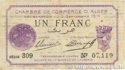 1 Franc FRANCE régionalisme et divers ALGER 1914 JP.137.01 TB