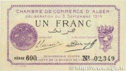1 Franc FRANCE régionalisme et divers ALGER 1914 JP.137.01 SUP