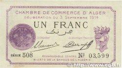 1 Franc FRANCE régionalisme et divers ALGER 1914 JP.137.01 SUP+