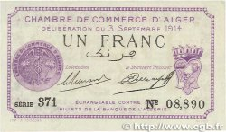 1 Franc FRANCE régionalisme et divers ALGER 1914 JP.137.01 NEUF
