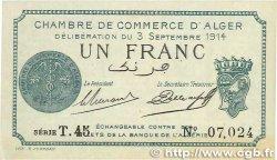 1 Franc FRANCE régionalisme et divers ALGER 1914 JP.137.04 SUP