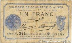 1 Franc FRANCE régionalisme et divers ALGER 1919 JP.137.12 B